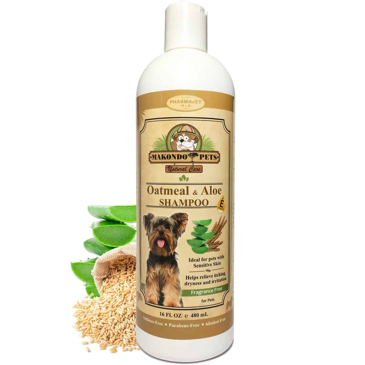 Oatmeal Dog Shampoo with Aloe Vera and Vitamin E - Hypoallergenic Dog Shampoo for Pets with Dry